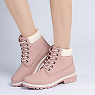 cheap Women's Boots-Women's Shoes PU Winter Fall Novelty Fashion Boots Combat Boots Boots Walking Shoes Low Heel Round Toe Lace-up for Casual Outdoor Office