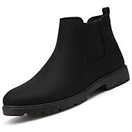 baratos Sapatos Masculinos-Homens Fashion Boots Couro de Porco / Couro Ecológico Primavera / Outono Conforto Botas Botas Cano Médio Preto / Cinzento / Vermelho