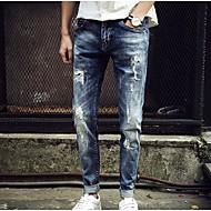 Homens Básico Algodão Delgado Jeans Calças - Sólido