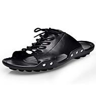 זול -בגדי ריקוד גברים נעליים עור אביב קיץ נוחות סנדלים ל קזו'אל שחור חום