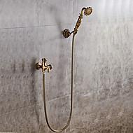baratos -Clássica Conjunto Central Separada Válvula Cerâmica Monocomando e Uma Abertura Cobre Envelhecido , Torneira de Chuveiro