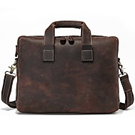 Men Bags Cowhide Briefcase Zipper for Casual Formal All Season Dark Brown