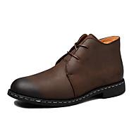 billige Sko i Store Størrelser-Herre sko Kunstlær Lær Vår Høst Komfort Støvler Ankelstøvler til Avslappet Svart Brun