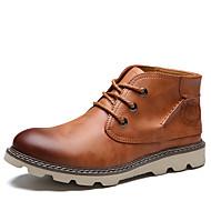 baratos Mais Vendidos-Homens sapatos Courino Couro Primavera Outono Conforto Botas Botas Curtas / Ankle para Casual Preto Marron