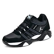 お買い得  ウォーキング-メンズ 靴 チュール 春 秋 コンフォートシューズ 前かがみのブーツ アスレチック・シューズ ウォーキング 編み上げ のために カジュアル ブラック Black and Blue ブラック/レッド
