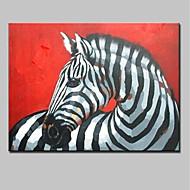 billiga Djurporträttmålningar-Hang målad oljemålning HANDMÅLAD - Djur Djur / Moderna Duk / Valsad duk