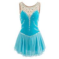 cheap -Figure Skating Dress Women's / Girls' Ice Skating Dress LightBlue Spandex Competition Skating Wear Handmade Jeweled / Rhinestone Sleeveless Ice Skating / Figure Skating