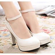 baratos -Feminino Sapatos Couro Ecológico Primavera Outono Conforto Plataforma Básica Saltos Salto Alto para Casual Branco Preto Vermelho Khaki