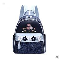 baratos Mochilas-Mulheres Bolsas PU mochila Ziper / Flor Azul Escuro