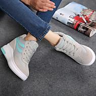 baratos Tênis Feminino-Mulheres Sapatos Tule Primavera / Outono Creepers Tênis Caminhada Salto Plataforma Ponta Redonda Cadarço Café / Vermelho / Azul