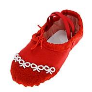 baratos Sapatilhas de Dança-Mulheres Sapatilhas de Balé Lona Sapatilha Pérolas Sem Salto Personalizável Sapatos de Dança Vermelho