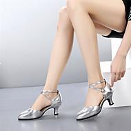 billige Kustomiserte dansesko-Dame Moderne sko Lær Høye hæler Kustomisert hæl Kan spesialtilpasses Dansesko Svart / Sølv / Rød / Innendørs
