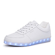 cheap Plus Size Shoes-Unisex Shoes PU Spring Fall Light Up Shoes Comfort Sneakers Walking Shoes Flat Heel Round Toe LED Lace-up for Athletic Casual Outdoor