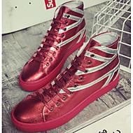 Herre sko Lær Vår Høst Komfort Treningssko til Avslappet Svart Sølv Rød