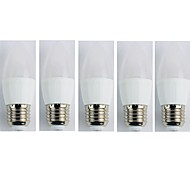 billige Stearinlyslamper med LED-5pcs 4W 320 lm E27 LED-lysestakepærer C35L 6 leds SMD 3528 Kjølig hvit AC 180-240