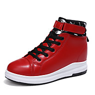 cheap Women's Sneakers-Women's Shoes Leatherette Spring Fall Comfort Sneakers Creepers Round Toe Buckle for Casual Outdoor White Black Red