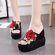 cheap -Women's Denim Summer Comfort Slippers & Flip-Flops Platform Open Toe White / Black