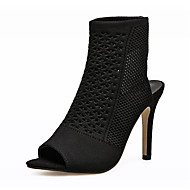 cheap Women's Sandals-Women's Shoes Knit Canvas Spring Fall Novelty Fashion Boots Bootie Comfort Sandals Stiletto Heel Round Toe for Wedding Casual Black