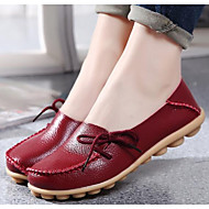 cheap Women's Shoes-Women's Shoes Nappa Leather Spring Fall Comfort Ballerina Loafers & Slip-Ons Flat Round Toe for Casual Wine Red Coffee Beige Black