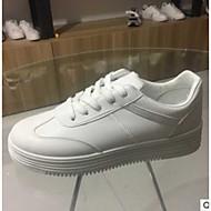 baratos Sapatos Femininos-Mulheres Sapatos Couro Ecológico Primavera / Outono Conforto Tênis Sem Salto Dedo Fechado Branco / Marron