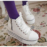 cheap Women's Sneakers-Women's Shoes Canvas Spring Fall Comfort Sneakers Creepers for Casual White Black
