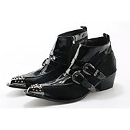 お買い得  メンズブーツ-メンズ 靴 本革 馬毛 冬 秋 オートバイ用ブーツ ブーティー ファッションブーツ ブーツ ブーティー/アンクルブーツ のために 結婚式 パーティー ブラック