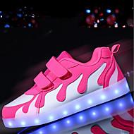 tanie Obuwie dziewczęce-Dla dziewczynek Buty PU Zima Jesień Świecące buty Comfort Tenisówki LED na Casual Na wolnym powietrzu Pink And White Black/Red