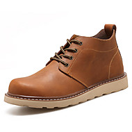Masculino sapatos Couro Ecológico Primavera Outono Conforto Coturnos Botas Botas Curtas / Ankle para Casual Preto Marron Khaki
