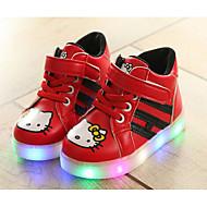 Недорогие -Мальчики обувь Полиуретан Зима Осень Удобная обувь Кеды Для прогулок На липучках для Повседневные Белый Красный Розовый