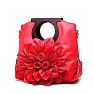 baratos Bolsas Tote-Mulheres Bolsas PU Tote Flor Floral Vermelho