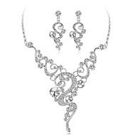 Női Gyémánt Kocka cirkónia apró gyémánt Mértani Ékszer szett Cirkonium, Ezüstözött Virág hölgyek, Elegáns tartalmaz Ezüst Kompatibilitás Esküvő Estély / Naušnice