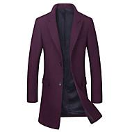 Krave Herre Lang Ensfarvet Vinter Efterår Afslappet Daglig Frakke Uld Polyester