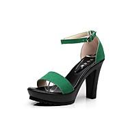 baratos Sapatos Femininos-Mulheres Sapatos Flocagem Verão Conforto Sandálias Salto Robusto Peep Toe Presilha Preto / Verde / Khaki