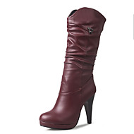 cheap -Women's Shoes Leatherette Fall / Winter Fashion Boots / Bootie Boots Stiletto Heel Round Toe Knee High Boots / Mid-Calf Boots Side-Draped