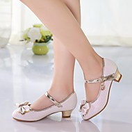 cheap Girls' Shoes-Girls' Shoes PU Spring Fall Tiny Heels for Teens Heels Bowknot for Casual White Pink