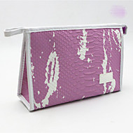 PU Crocodile Cosmetic Bag Zipper for Casual All Season Purple Black
