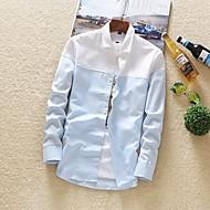 Masculino Camisa Social Diário Casual Todas as Estações,Estampa Colorida Poliéster Colarinho de Camisa Manga Comprida Opaca