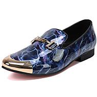 baratos Sapatos Masculinos-Homens Pele Napa Primavera / Outono Conforto / Sapatos formais Mocassins e Slip-Ons Vermelho / Azul / Festas & Noite