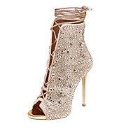 Sandals Summer Gladiator Fleece Wedding Office & Career Party & Evening Dress Casual Stiletto Heel Rhinestone Lace-up Silver Gold