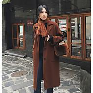 Kaput Dug Žene, Vintage Ležerno/za svaki dan Jednobojni Klasični rever Zima Jesen Ogroman Vuna Umjetno krzno
