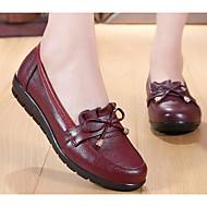 Feminino Sapatos Pele Primavera Outono Conforto Mocassins e Slip-Ons Salto Plataforma para Casual Preto Vermelho