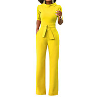 cheap -Women's Wide Leg Daily / Weekend Turtleneck Yellow Wine Army Green Wide Leg Jumpsuit, Solid Colored L XL XXL Half Sleeve Spring Summer / Slim