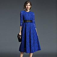 Women's Lace Going out A Line Dress - Solid Colored Lace Spring Blue Khaki L XL XXL
