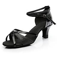 baratos Sapatilhas de Dança-Mulheres Sapatos de Dança Latina Materiais Customizados Esporte & lazer / Salto Salto Baixo Personalizável Sapatos de Dança Preto