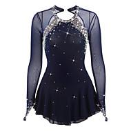 Χαμηλού Κόστους -Φόρεμα για φιγούρες πατινάζ Γυναικεία Κοριτσίστικα Patinaj Φορέματα Σκούρο μπλε Spandex Τεχνητό διαμάντι Υψηλή Ελαστικότητα Επίδοση