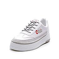 baratos Sapatos Femininos-Mulheres Sapatos Couro Ecológico Primavera / Outono Conforto Tênis Sem Salto Branco / Preto / Cinzento