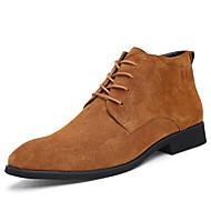 お買い得  メンズブーツ-男性用 靴 レザーレット 春 夏 コンフォートシューズ ブーツ ブーティー/アンクルブーツ のために カジュアル ブラック グレー Brown