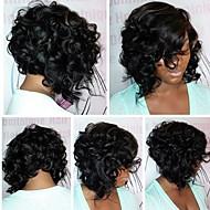 Naisten Aitohiusperuukit verkolla Brasilialainen Aidot hiukset Lace Front 130% Tiheys Bob-leikkaus Vauvantukalla Kihara Peruukki Jet
