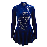 cheap -Figure Skating Dress Women's / Girls' Ice Skating Dress Blue Velvet Training / Competition Skating Wear Breathable, Handmade Solid Colored / Novelty / Classic Sleeveless Ice Skating / Figure Skating