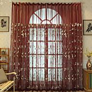 abordables Cortinas-Corredizo Anillo Lazo de tela Doble plisado Solo plisado Ventana Tratamiento Campestre, Bordado Floral Dormitorio Mezcla de poliéster